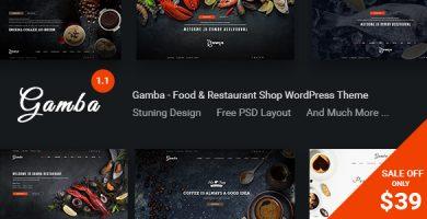قالب Gamba - قالب وردپرس غذا و رستوران