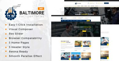 Baltimore Factory - قالب وردپرس کارخانه و تجارت صنعتی