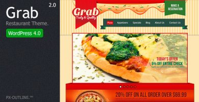قالب Grab Restaurant - قالب وردپرس