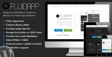 قالب FluidApp - قالب وردپرس سایت اپلیکیشن موبایل