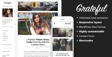 قالب Grateful - قالب وردپرس وبلاگ شخصی