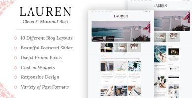 قالب Lauren - قالب وردپرس وبلاگ ساده