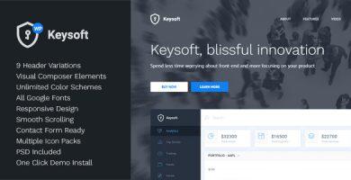 قالب KeySoft - قالب وردپرس صفحه فرود نرم افزار