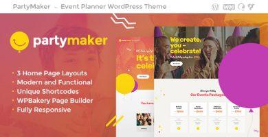 قالب PartyMaker - قالب وردپرس برنامه ریز رویداد