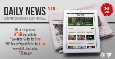 قالب DAILYNEWS - قالب وردپرس مجله، بلاگ، شخصی