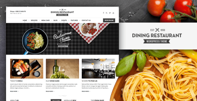 قالب Dining Restaurant - قالب وردپرس برای سرآشپزها