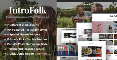 قالب Introfolk - قالب وبلاگی شخصی و مجله ای وردپرس