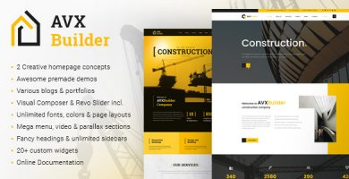 AVXBuilder - قالب وردپرس کسب و کار ساختمانی