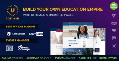 قالب Unidash - قالب وردپرس مراکز آموزشی و آموزش آنلاین