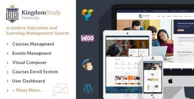 قالب Kingdom Study - قالب وردپرس سیستم مدیریت یادگیری