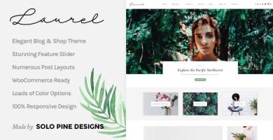 قالب Laurel - یک قالب وبلاگ و فروشگاه وردپرس