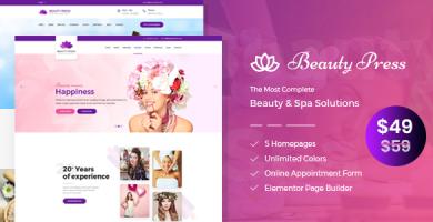 قالب BeautyPress - قالب وردپرس سالن زیبایی و سالن ماساژ