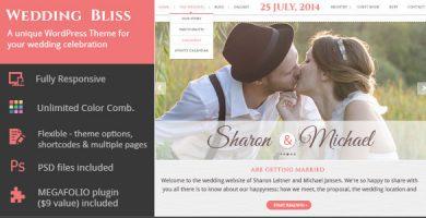 قالب Wedding Bliss - قالب وردپرس مراسم ازدواج منحصر به فرد