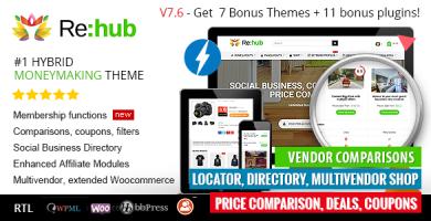 قالب REHub - قالب وردپرس سایت مقایسه قیمت، سیستم همکاری در فروش، فروشگاه چند فروشنده