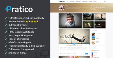 قالب Pratico - قالب وردپرس وبلاگ