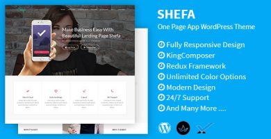 قالب Shefa - قالب وردپرس تک صفحه ای برای اپلیکیشن