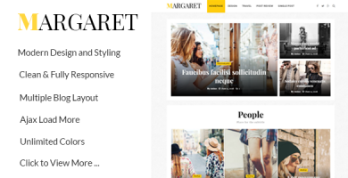 قالب Margaret - قالب مجله و وبلاگ وردپرس