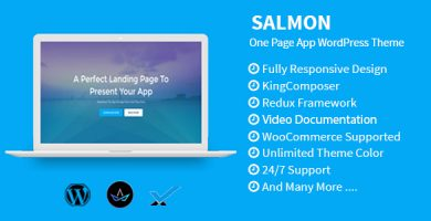 قالب Salmon - قالب وردپرس تک صفحه ای برای اپلیکیشن