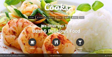 قالب Cooks - قالب وردپرس رستوران