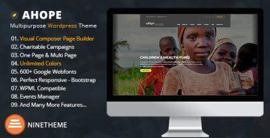قالب Ahope - بهترین قالب وردپرس برای سازمان های غیرانتفاعی