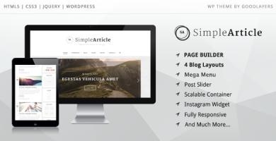 قالب Simple Article - قالب وردپرس وبلاگ شخصی