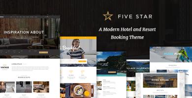 قالب FiveStar - پوسته مدرن وردپرس رزرو هتل