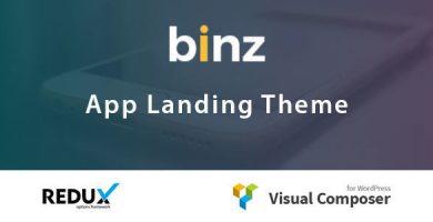 Binz - قالب صفحه فرود اپلیکیشن