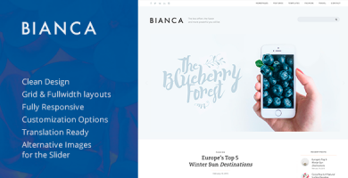 قالب Bianca - قالب وردپرس بلاگی ساده