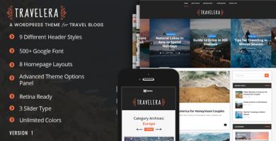قالب Travelera - قالب وردپرس وبلاگ گردشگری