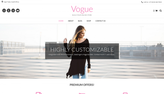 پیش نمایش دسکتاپ قالب وردپرس Vogue