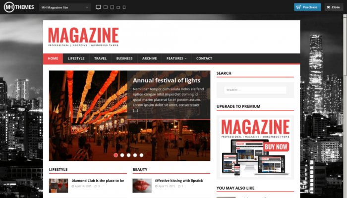 پیش نمایش دسکتاپ قالب وردپرس MH Magazine Lite
