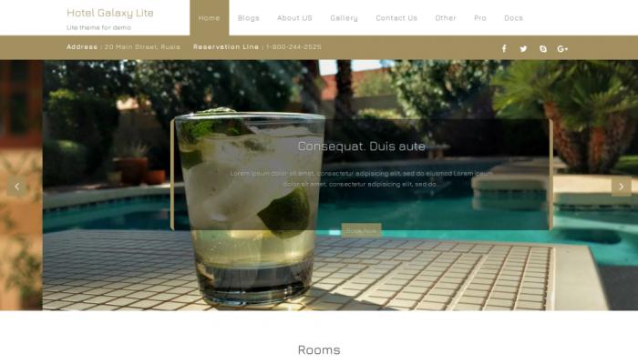 پیش نمایش دسکتاپ قالب وردپرس Hotel Galaxy Lite