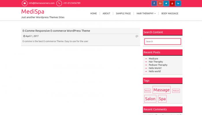 پیش نمایش دسکتاپ قالب وردپرس MediSpa