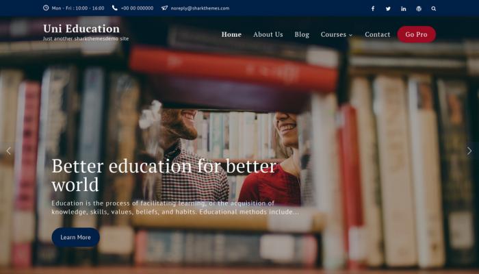 پیش نمایش دسکتاپ قالب وردپرس Uni Education