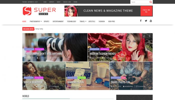 پیش نمایش دسکتاپ قالب وردپرس SuperNews