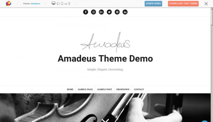 پیش نمایش دسکتاپ قالب وردپرس Amadeus