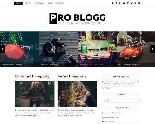 دانلود رایگان قالب وردپرس Pro Blogg