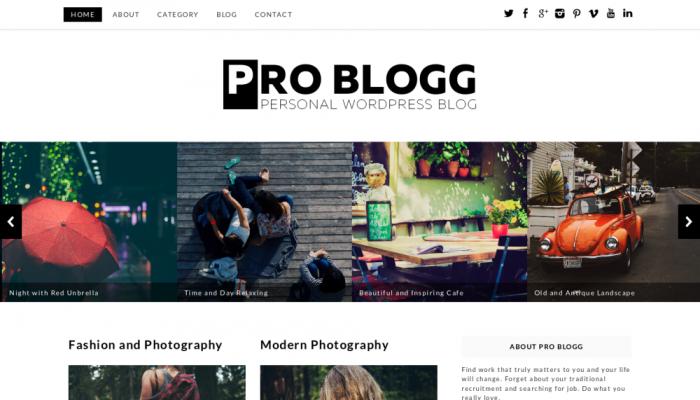 پیش نمایش دسکتاپ قالب وردپرس Pro Blogg