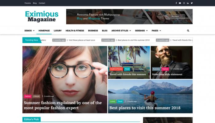 پیش نمایش دسکتاپ قالب وردپرس Eximious Magazine
