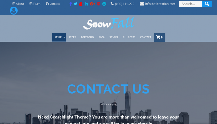 پیش نمایش دسکتاپ قالب وردپرس SnowFall