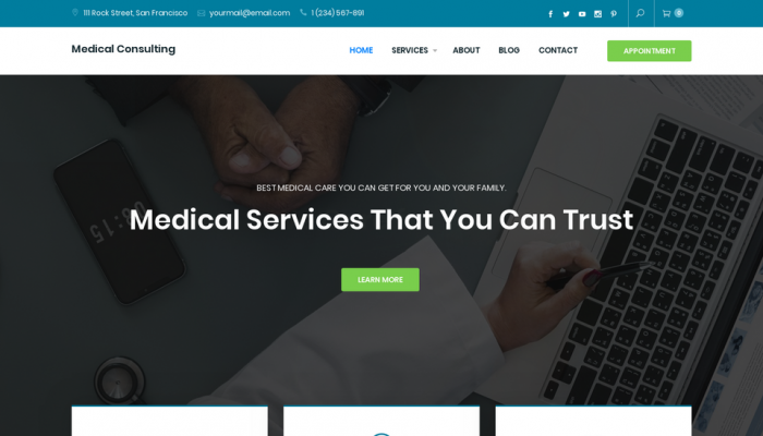 پیش نمایش دسکتاپ قالب وردپرس Medical Consulting