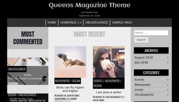 پیش نمایش دسکتاپ قالب وردپرس Queens Magazine Blog