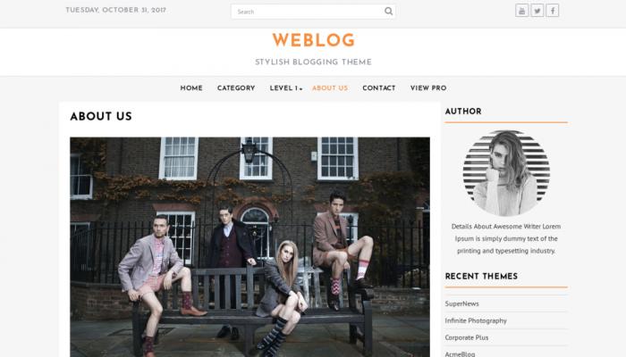 پیش نمایش دسکتاپ قالب وردپرس Weblog
