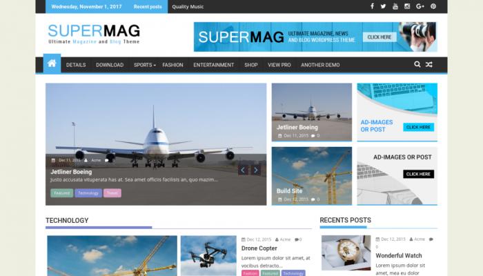 پیش نمایش دسکتاپ قالب وردپرس SuperMag