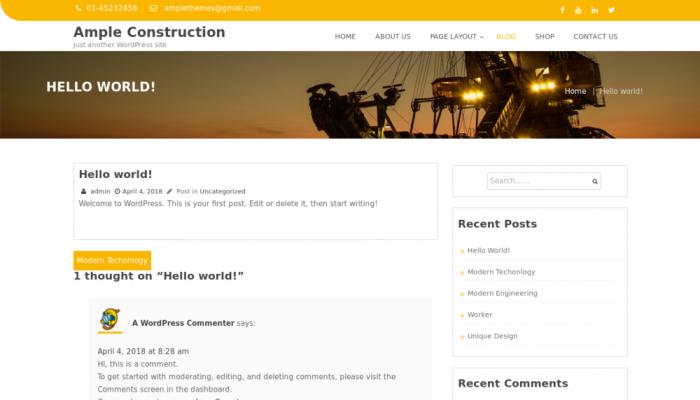پیش نمایش دسکتاپ قالب وردپرس Ample Construction