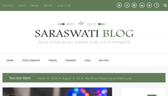 پیش نمایش دسکتاپ قالب وردپرس Saraswati Blog