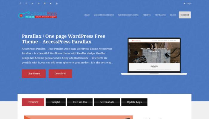 پیش نمایش دسکتاپ قالب وردپرس Accesspress Parallax