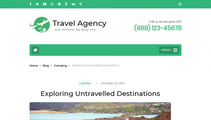 پیش نمایش دسکتاپ قالب وردپرس Travel Agency