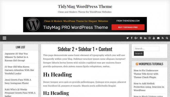 پیش نمایش دسکتاپ قالب وردپرس TidyMag