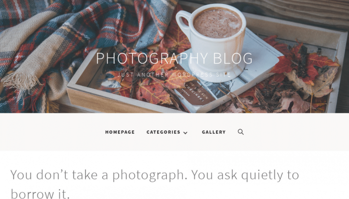 پیش نمایش دسکتاپ قالب وردپرس Photography Blog